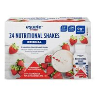 ( 24 Bottles ) Equate Nutritional Replacement Meal Shake Strawberry Shakes 8 Oz
