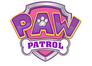 """PRECUT EDIBLE 5"""" PAW PATROL SIGN PINK OR BLUE CAKE TOPPER FAB 4 PAW-TY CAKES"""