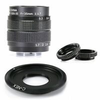 Fujian 35MM f/1.7 C Mount CCTV Lens for Sony NEX E-mount camera & Adapter bundle