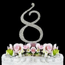 Large Rhinestone Number (8) Anniversary Birthday Wedding Cake topper Free Ship