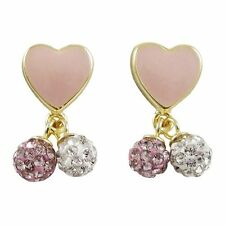 Sterling Silver Gold Plated Pink Enamel Hearts White Pink Crystals Kids Earrings