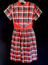 COLLECTORS RED & GRAY 1940'S DEADSTOCK NEVER WORN NEW COTTON GIRLS DRESS SIZE 10