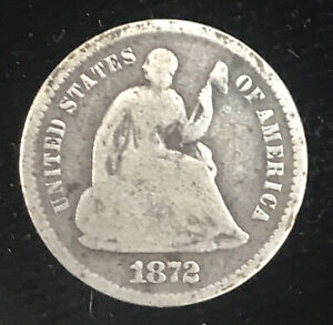 1872 S Seated Liberty Half Dime Below Bow Nice Good Coin