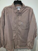 Columbia Mens Checks Long Sleeve Button Down Shirt Brown Cream Size XL