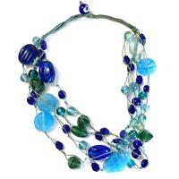 "Vintage Czechoslovakian Glass Mardi Gras Bead Layer blue 4 Necklace Art - 16"""