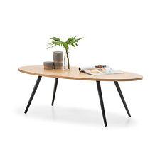 Retro Scandinavian Danish Design OVAL Coffee Table Timber Top & Black Steel Legs