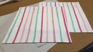 TWO LAURA ASHLEY HANDMADE CUSHION COVERS IN PAINTERLY STRIPE IN PINK