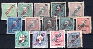ANGOLA 1914 158-178 ex meist * 14 WERTE REBUBLICA AUFDRUCKE(M1255