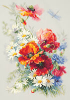 Tulips in Watering Can Orchidea Printed Cross Stitch Kit