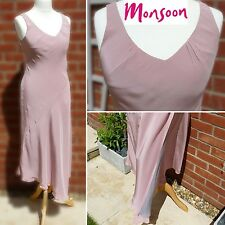 Monsoon Silk Maxi Dress Layered Asymmetric Pink & Grey UK12 Summer Prom Cruise