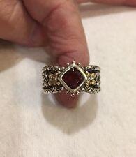 Barbara Bixby Sterling/18K Cushion Cut Garnet Romeo &Juliet Ring Sz 9