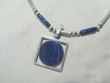 DENMARK STERLING NECKLACE  W, LAPIS PENDANT & BEADS ON CHAIN
