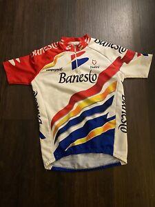 Vintage Banesto Short Sleeve Jersey Indurain Spanish Retro Eroica Tour De France