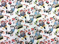 AH270 Japanese Kitty Cat Sushi Chef Kitten Rockin' Rolls Cotton Quilt Fabric