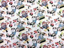 AH270 Japanese Kitty Cat Sushi Chef Kitten Rockin' Rolls Cotton Quilt Fabric