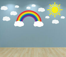 Rainbow Clouds and Sun Wall Art Decal sticker Nursery Bedroom Playroom Baby Room