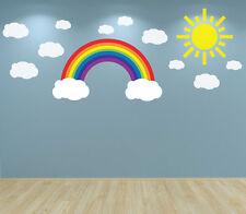 Arco Iris nubes y Sol De Arte De Pared Autoadhesiva De Vivero Dormitorio Sala de Juegos habitación de bebé