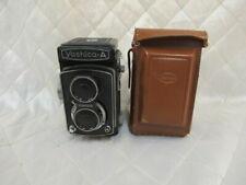 Vintage Yashica-A Camera 120 Film 80mm f/3.5 Box Shutter Works + Leather Case