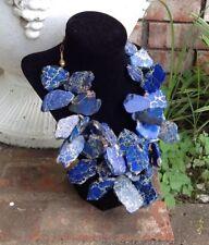 Blue Jasper Necklace-Bold Statement Necklace w/Large Varied Size Jasper-2 Strand