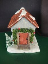 Winter Village Christmas Porcelain Shed or small house w/ garland (408)