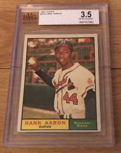 1961 Topps Hank Aaron Baseball Card #415 Milwaukee Braves HOF Graded BVG 3.5