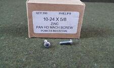New listing Powers Industrial Pan Head 10-24 x 5/8 Phillips Machine Screw Zinc Qty 100