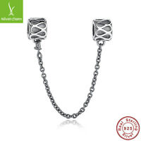 Authentic Gifts 925 Sterling Silver Elegant Raindrops pattern Safety Chain Charm