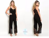 Women Sleeveless Black Romper Jumper Playsuit Lace Wide Leg Silhouette Casual