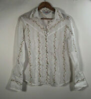 Roper Women's SZ M Long Sleeve Western White Embroidered Pearl Snap Shirt Rodeo