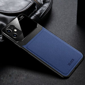 MOBILE PHONE CASE IPHONE 7/8/SE/X/XS BLUE/BLACK PU LEATHER TEMPERED GLASS MENS