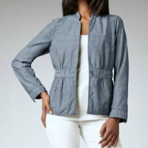 EILEEN FISHER CHAMBRAY BLUE STAND COLLAR JACKET SIZE MEDIUM NEW NWT