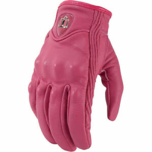 Non Perforated Icon Womens Pursuit Leather Motorcycle Gloves - USA SELLER
