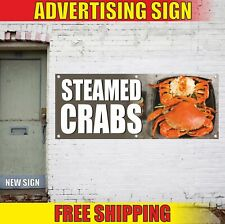 STEAMED CRABS Advertising Banner Vinyl Mesh Decal Sign fresh seafood shrimp bbq