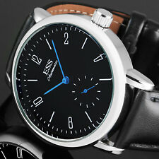 ESS Mens Watch Mechanical Blue Hands Stainless Steel Case Analog Bauhaus Luxury