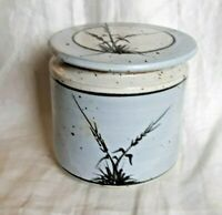 Studio Pottery Butter Bell--Blue With Grass Decoration--Countertop Crock--Signed
