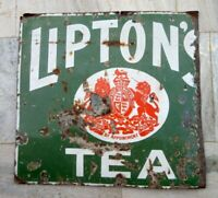 Lipton's Tea Ad Porcelain Enamel Sign Board 1930'S Vintage Old Rare Sign Board