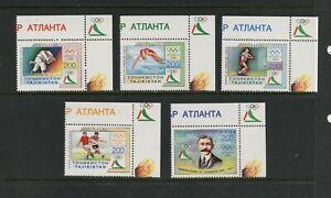 F251 Tajikistan 1996 Olympiques 5v. MNH