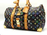 Auth LOUIS VUITTON Monogram Multicolor Keepall 45 Boston Bag Noir M92640 B-4753