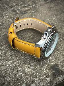 Genuine Yellow Leather Watch Strap 22/20mm 24/22mm Lug Watches