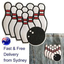 Bowling iron on patch 10 pin ball alley skittle heat transfer iron-on patches