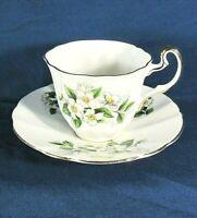Adderley Bone China H1377 White Floral,Green Leaf,Flat Teacup,Saucer Set Excl