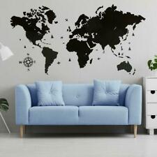 Single layer wooden map of the world on the wall in black .Made in Ukraine