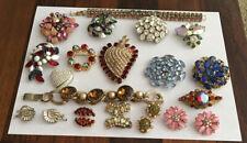 Vtg Lot Rhinestone Jewelry Weiss Austria Juliana Wiesner Bracelet Brooch Earring