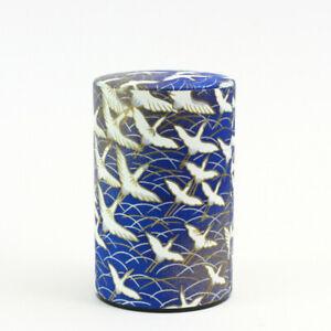 Teedose Kranich blau, für 100 g Teeblätter, original Japan