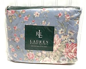 Ralph Lauren Shelter Island Blue Floral KING Size Fitted Sheet New Sealed