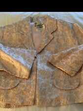 New listing Vintage Speciality House Lightweight Floral Brocade Bolero Jacket W/3/4 Sleeves