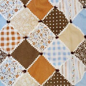 Vintage 70s Patchwork Retro Blue Brown Plaid Floral Comforter Full Size