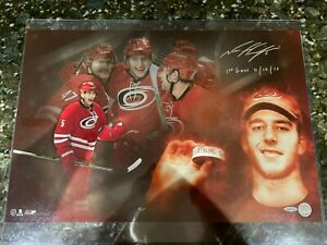 "Noah Hanifin Signed Auto 16x24 Photo ""First Horn"" Inscribed UDA COA Hurricanes"