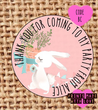 Personalised bunny carrot party bag stickers , sweet cone labels , thank you BC