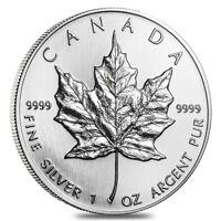 1990 1 oz Silver Canadian Maple Leaf .9999 Fine $5 Coin BU (Sealed)